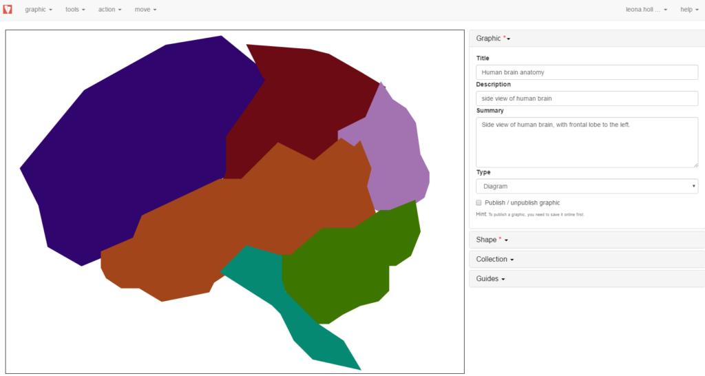 GraVVITAS author tool with diagram of a brain