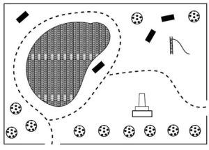 Tactile graphic of a park with a fence around the edge, round trees, a lake on the left, a dashed pathway, rectangular seats, a slide and a monument.