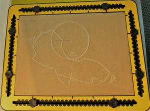 TactiPad Drawing Board with mylar sheet and tactile rulers around edge