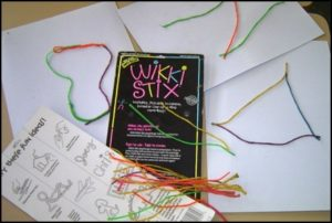 Wikki Stix packet and simple shape drawings