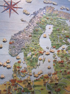 Carved wooden map.