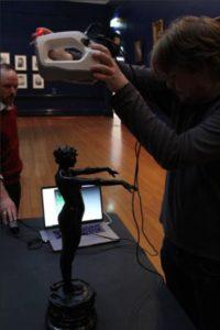 Scanning a 60cm statue in the Bendigo Art Gallery