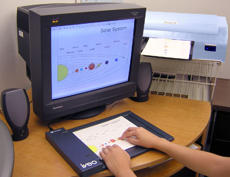 Technical drawing of the solar system on computer screen, coming out of a swell machine, and overlaid on an ievo device