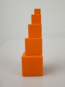 3D printed tower of blocks in decreasing size