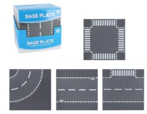 Lego-compatible base plates with cross intersection, curved road, straight road or T-intersection