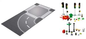 Lego base plates with roads, traffic lights, street lights and other street scene items