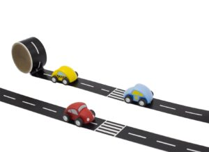 Wide black tape with white centre lane and zebra crossings. Shown with wooden cars with simple wooden cars with wheels.