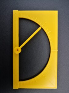 3D printed protractor with raised line markings and moveable arm
