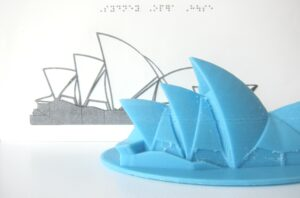 3D printed model of the Sydney Opera House with a tactile graphic represenation