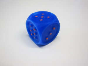 3D printed dice with tactile dots